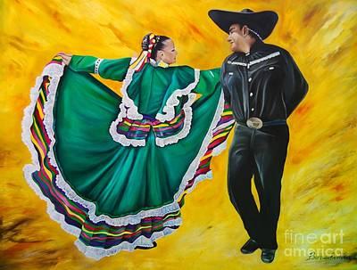Folklorico Dancers  Poster by Barbara  Rivera