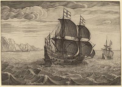 Follower Of Pieter Bruegel The Elder, Ship In Full Sail Poster by Quint Lox