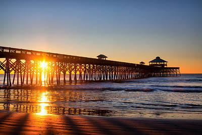 Folly Beach Pier At Sunrise Poster by Lynne Jenkins