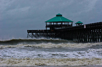 Folly Beach Pier During Sandy Poster