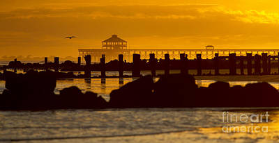 Folly Beach Pier Sunset Poster by Dustin K Ryan