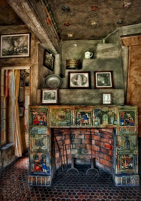 Fonthill Castle Bedroom Fireplace Poster by Susan Candelario