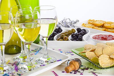 Food And Wine On A Buffet Table Poster