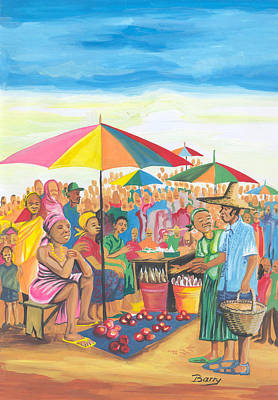 Poster featuring the painting Food Market In Cameroon by Emmanuel Baliyanga