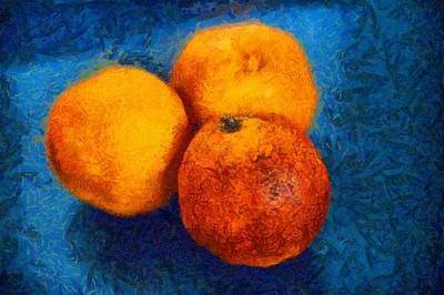 Food Still Life - Three Oranges On Blue - Digital Painting Poster