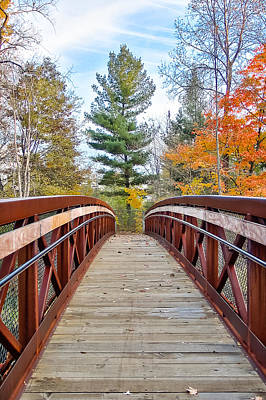 Poster featuring the photograph Foot Bridge In Fall by Lars Lentz