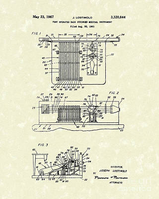 Foot Guitar 1967 Patent Art Poster