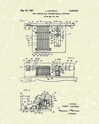 Foot Guitar 1967 Patent Art Poster by Prior Art Design
