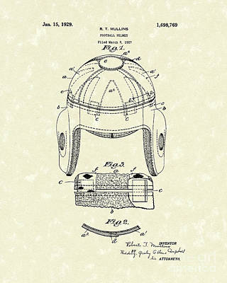 Football Helmet 1929 Patent Art Poster