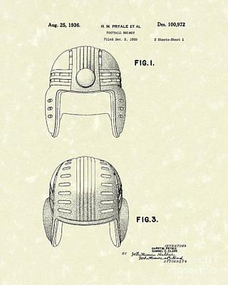 Football Helmet 1936 Patent Art Poster by Prior Art Design