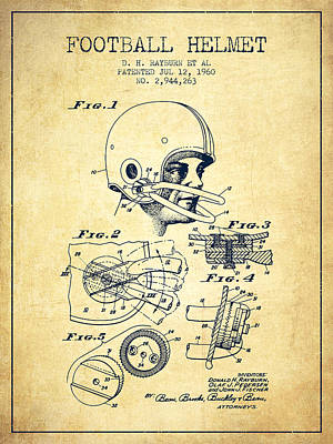 Football Helmet Patent From 1960 - Vintage Poster by Aged Pixel