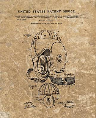 Football Helmet Patent Vintage Poster by Dan Sproul