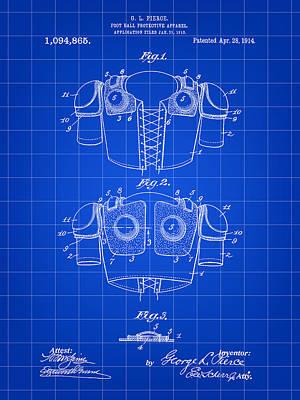 Football Shoulder Pads Patent 1913 - Blue Poster