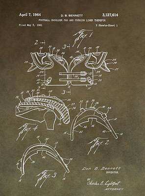 Football Shoulder Pads Patent Poster by Dan Sproul