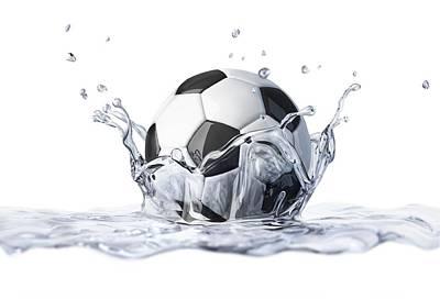 Football Splashing Into Water Poster by Leonello Calvetti