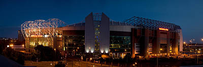 Football Stadium Lit Up At Night, Old Poster