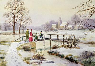 Footbridge In Winter Poster by Stanley Cooke
