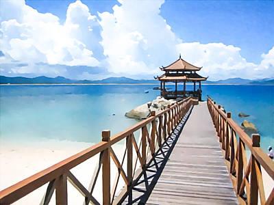 Footbrige To Pavilion At Beach Of Wuzhizhou Island Poster