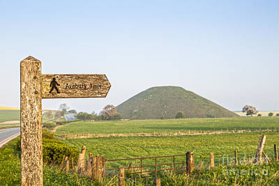 Footpath Signpost To Avebury Near Silbury Hill Poster by Colin and Linda McKie