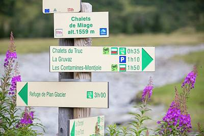Footpath Signs On The Tour Du Mont Blanc Poster