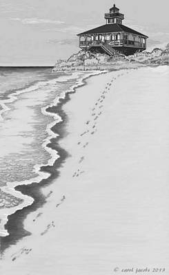 Poster featuring the digital art Footprints On Boca Beach by Carol Jacobs