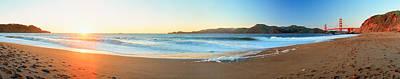 Footprints On The Beach, Golden Gate Poster