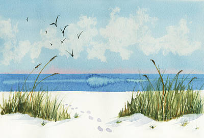 Poster featuring the painting Footprints On The Beach by Nan Wright
