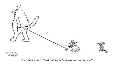 For God's Sake Poster by Sam Gross