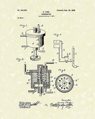 Ford Carburetor 1898 Patent Art Poster