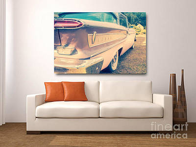 Pink Ford Edsel On Wall Poster