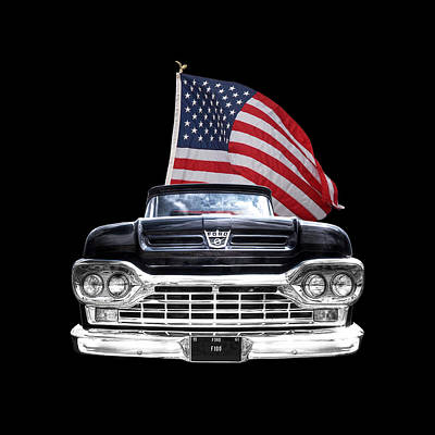 Ford F100 With U.s.flag On Black Poster by Gill Billington