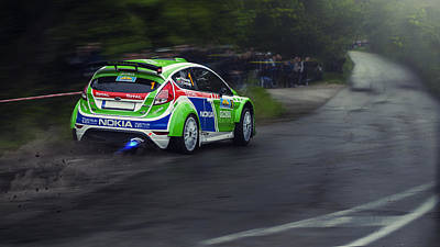 Ford Fiesta R5 Rally Car Poster by Tsvetelin Iliev