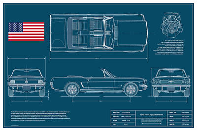 Ford Mustang Convert Blueplanprint Poster by Douglas Switzer