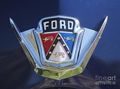 Ford On Blue Poster by Dodie Ulery