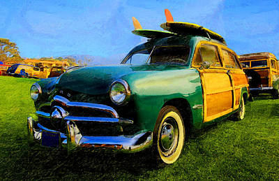 Ford Woodie With Longboards Poster