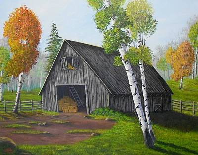 Poster featuring the painting Forest Barn by Sheri Keith
