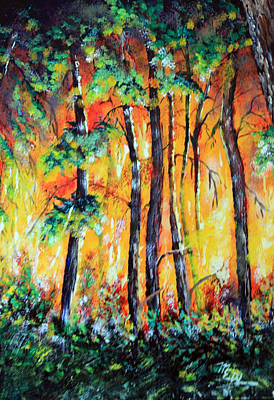 Forest Fire In The Pine Barrens Poster by Martin Way