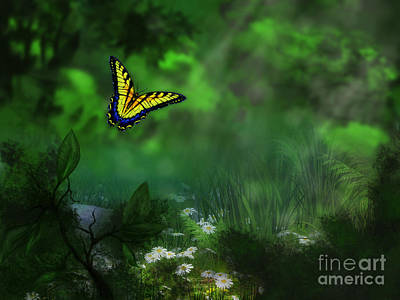Forest Glade Butterfly Background Poster