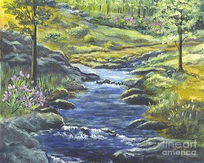 Poster featuring the painting Forest Glen Brook by Carol Wisniewski