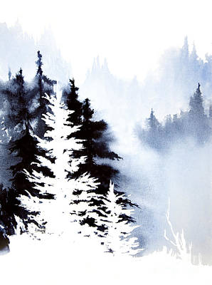 Poster featuring the painting Forest Indigo by Teresa Ascone