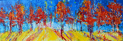 Tree Forest 4 Modern Impressionist Landscape Painting Palette Knife Work Poster by Patricia Awapara