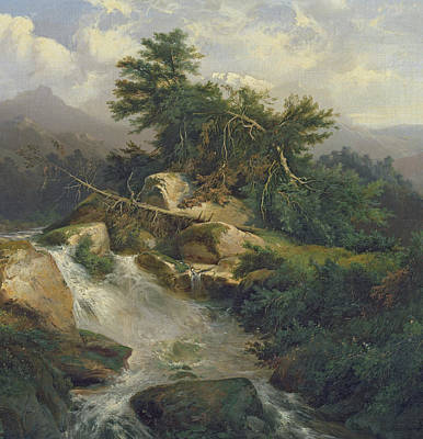 Forest Landscape With Waterfall  Poster by Julius Bakof