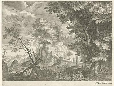 Forest Landscape With Wooden Bridge, Aegidius Sadeler Poster