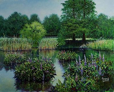 Poster featuring the painting Forest Park Pond Scene by Michael Frank