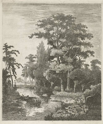 Forest Scene With Two Ducks Nesting In A River Poster by Hermanus Jan Hendrik Van Rijkelijkhuysen