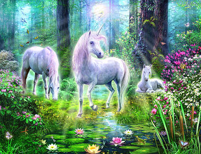 Forest Unicorn Family Poster