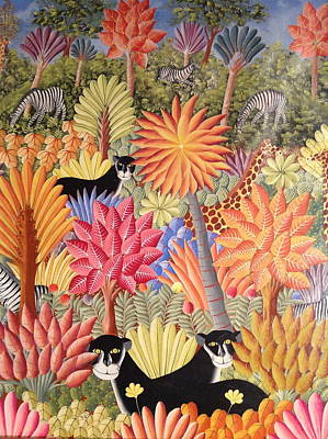 Poster featuring the painting Forest With  Black Panthers by Haitian artist