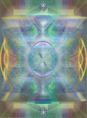 Forested Chalice In The Flower Of Life And Vortexes Poster