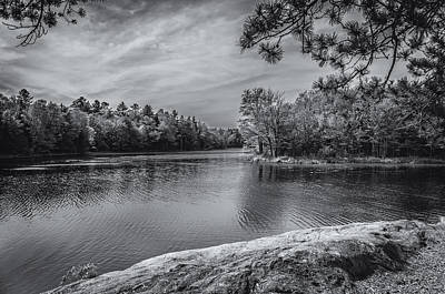 Fork In River Bw Poster by Mark Myhaver