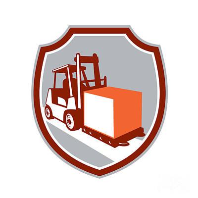 Forklift Truck Box Shield Retro Poster